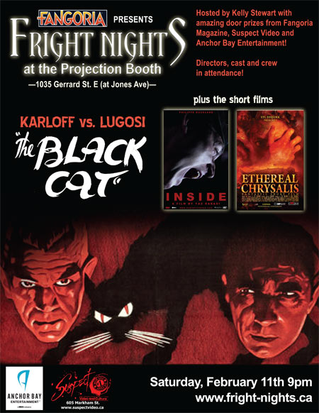 Fangoria presents Fright Nights at the Projection Booth (Toronto): The Black Cat (Karloff vs. Lugosi) plus the short films Ethereal Chrysalis and Inside